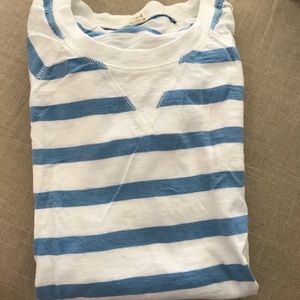 J crew blue and white striped shirt